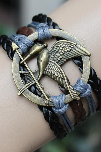 black mockingjay bracelet jewellry hunger games bracelets leather bracelet charm bracelet Christmas gifts birthday gift for mother father him her