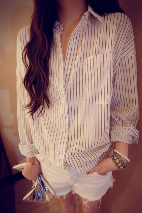 Striped cotton shirt BC1219BE