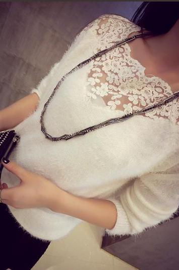 Stitching lace collar mohair sweater BC1219BF