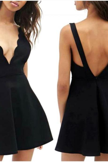 Open Back V Neck Little Black Dress