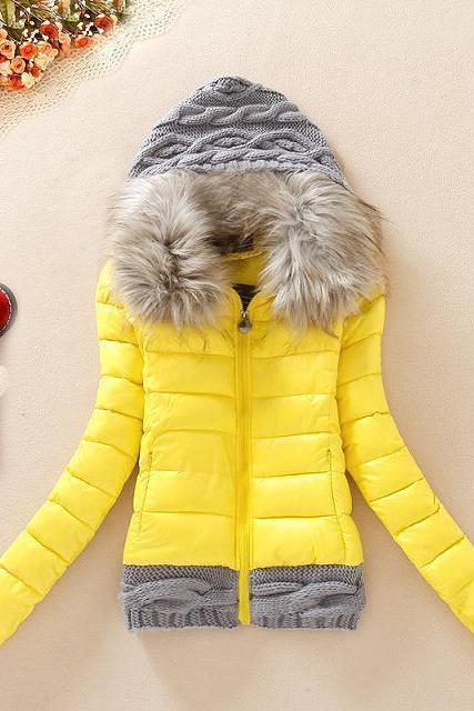 Knitted Splicing Hooded Down Coat