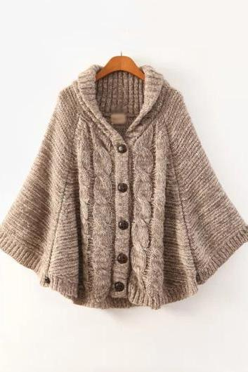 High Quality Turndown Collar Button Fly Woman Cardigans
