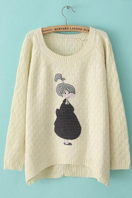 Cartoon Irregular Knit Sweater