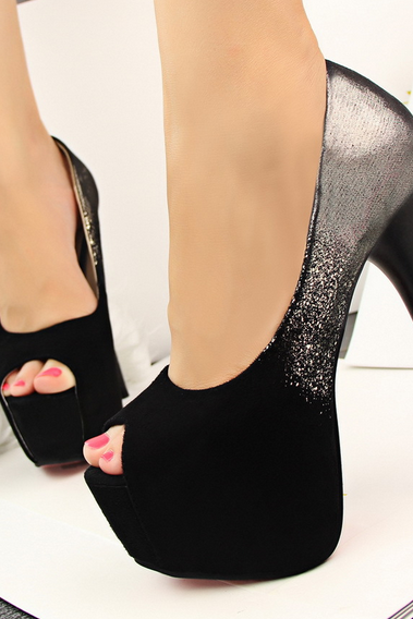 Peep Toe Suede Stiletto High Heel Pumps with Glittery Effect