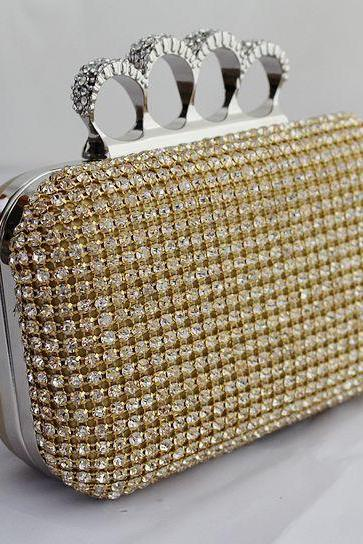 Silver Gold Black Crystal Diamante Effect Evening Clutch Wedding Party Prom Bag Box Fashion Bag New Design bags 3 Colors