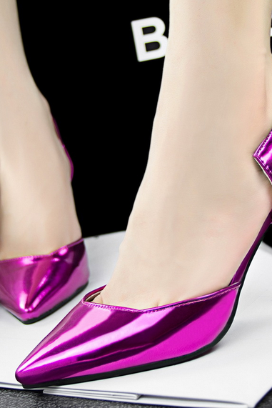 Pointed Toe Metallic High Heel Pumps with Side Cut Outs