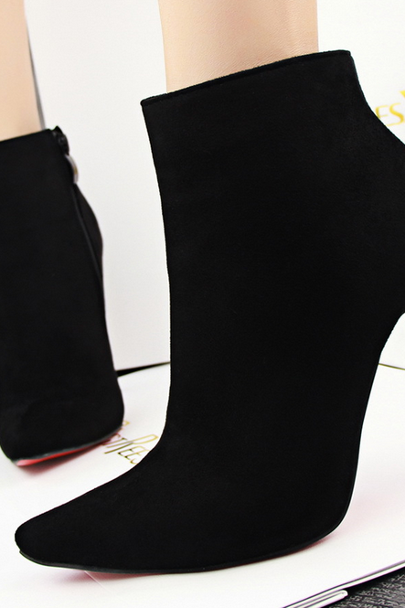 Pile tip sexy show thin ankle boots boots