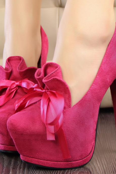 Super High Heels Fashion Sweet Bowknot Shoes