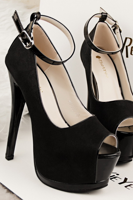 PU Leather Peep Toe Stiletto Platform Pumps with Ankle Strap