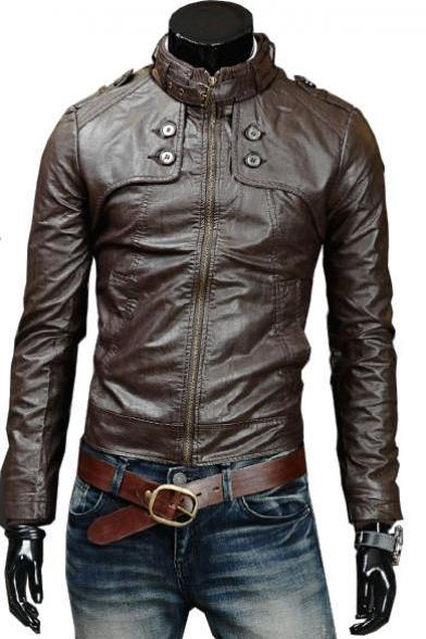 Handmade Custom New Men Slim Fit Button Front Style Leather Jacket, men leather jacket, Leather jacket for men, Biker Leather Jacket, Motorcycle Jacket