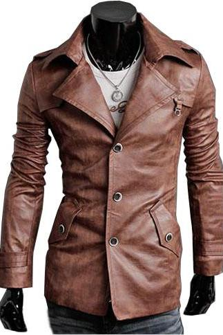 Handmade Custom New Men Slim Fit Button Closure Leather Jacket, men leather jacket, Leather jacket for men, Biker Leather Jacket, Motorcycle Jacket