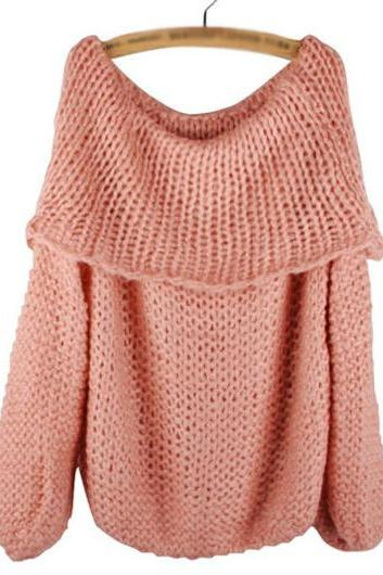 Fashion New Arrival Solid Boat Neck Woman Pullover - Pink