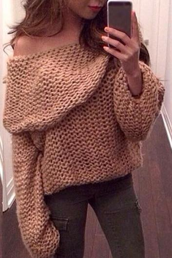 Fashion New Arrival Solid Boat Neck Woman Pullover - Khaki