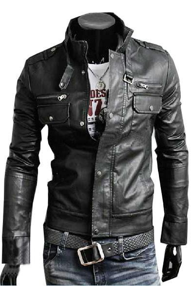 Handmade Custom New Men Slim Fit Stylish Belted Collar Chic Leather Jacket, men leather jacket, Leather jacket for men, Biker Leather Jacket, Motorcycle Jacket