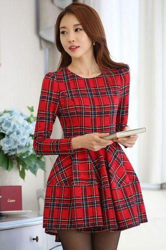 Red Plaid Long Sleeve Dress