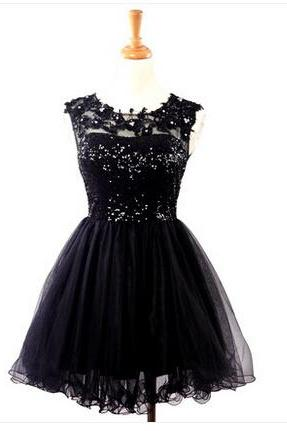 Lovely Short Ball Gown Tulle Prom Dress with Sequins and Applique, Short Prom Dresses, Homecoming Dresses, Lovely Grduation Dresses