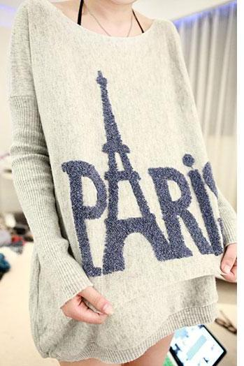 Loose Fitting PARIS Eiffel Tower Print Knit Sweater - Gray