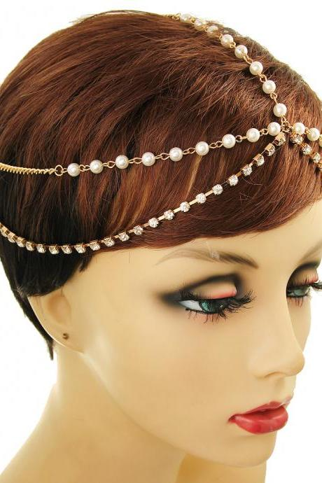Cream Pearl Layered Head Chain, Gold Boho Stayle Hair Jewelry, Bridal Head Chain by 4YJD