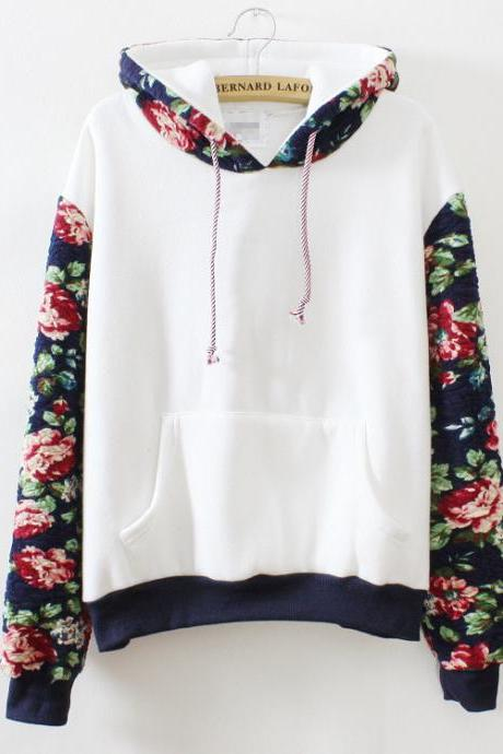 Retro flowers hooded sweater VG122201NM
