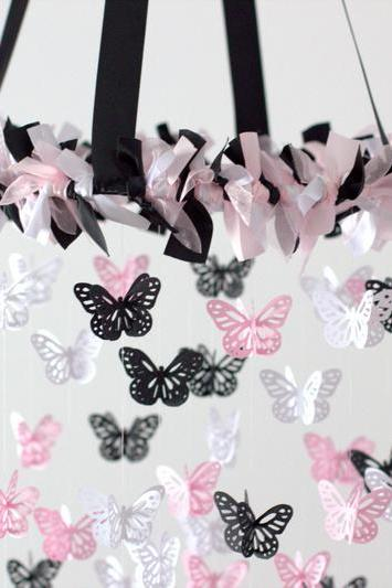 Black, Pink & White Butterfly Nursery Mobile