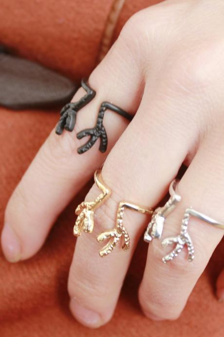 Retro 3 Colors Cute Deer Horn Open Adjustable Punk Fashion Jewelry Ring