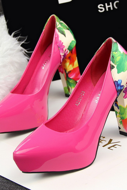 Fashion sexy simple rough heels waterproof Taiwan shallow mouth pointed floral color matching shoes