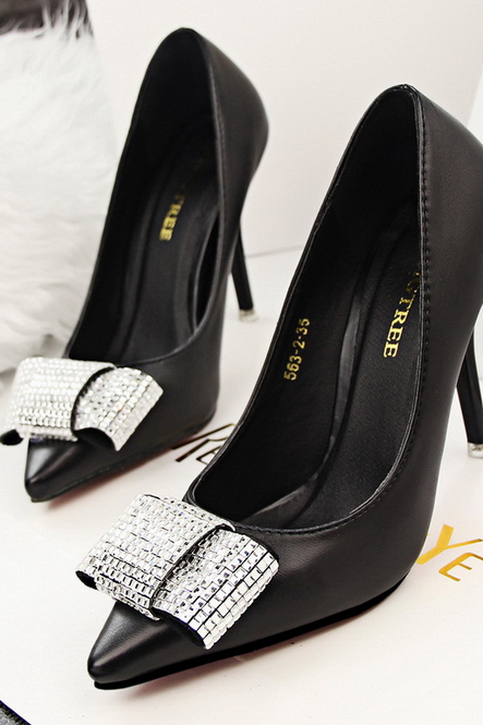 Fashion elegant thin heels shallow mouth pointed to shine beautiful diamond Bow Shoes