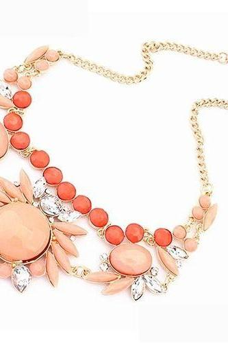Flower jewelry peach club night out party girl necklace