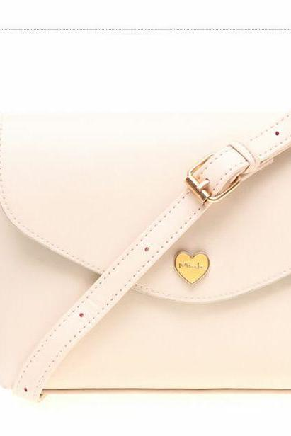 Envelope bag Heart button bag Beige woman handbag
