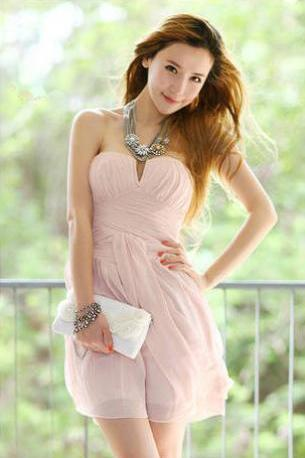Chiffon Prom Dress Sweetheart Pink Pleated