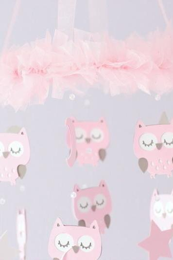 Owl Nursery Mobile with CRYSTAL acrylic beads, in Pink & Taupe- SMALL Size Baby Mobile, Crib Mobile, Baby Shower Gift