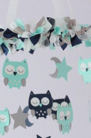 Owl Nursery Mobile in Aqua, Navy Blue, Gray & White