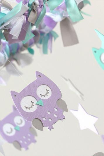SMALL Owl Nursery Mobile in Lavender, Aqua, Gray & White