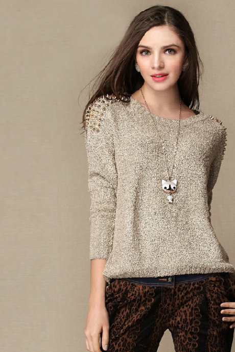 Metal rivets bat sleeve sweater loose turtleneck sweater sweater