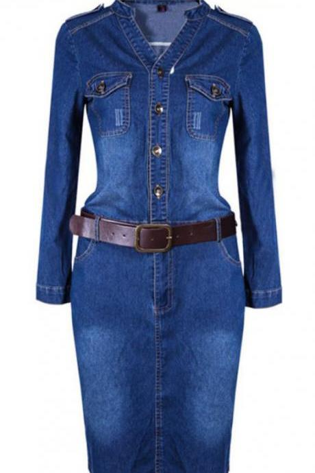 Womens Denim Dress Denim Fashion Maxi Blue Dress Denim Long Sleeve