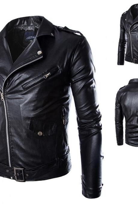 Classic Fashion Men Stand Collar Full Zipper Casual Street Fashion Biker PU Leather Jacket Coat