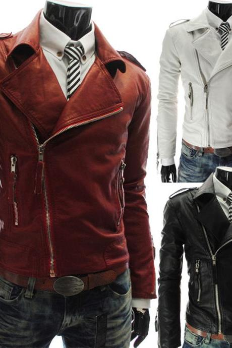 Sale Men Fashion Lapel Oblique Zipper Bomber Biker Cool Slim Fit PU Leather Jacker