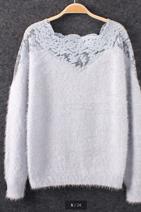 Mohair lace stitching long-sleeved pullovers