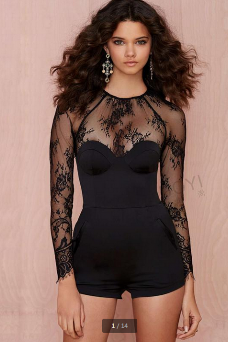 Sexy Lace Crochet Stitching Cultivate One's Morality Nine Points Sleeve Jumpsuits