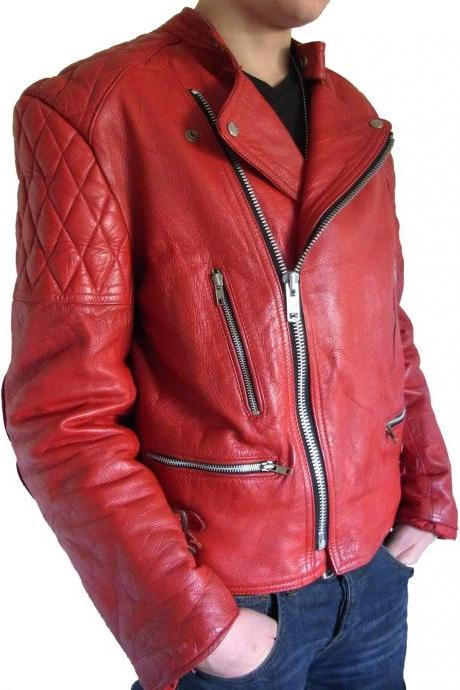Handmade Custom New Men Stylish with Quilted Shoulders Leather Jacket, men leather jacket, Leather jacket for men, Biker Leather Jacket, Motorcycle Jacket