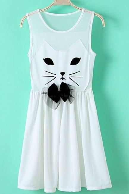 Gauze Dress Stitching Cute Cat
