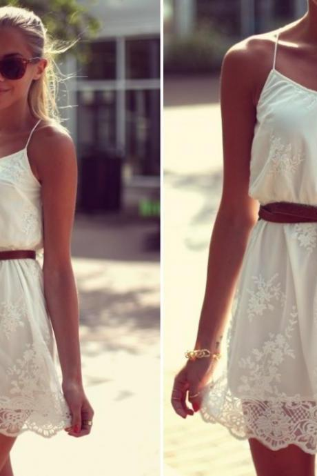 Strappy White Silk Dress
