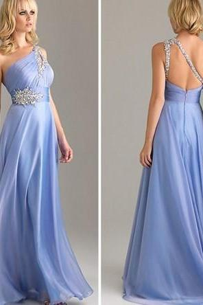 One-Shoulder Beaded Ruched A-line Long Prom Dress, Evening Dress
