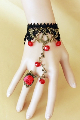 Bohemia windflower rattan red crystal Vintage Lace lucky bracelet with one chain ring