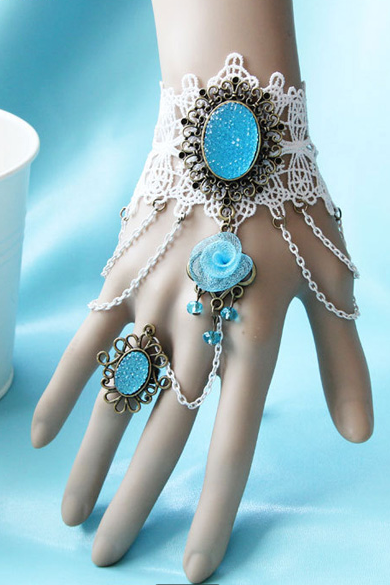Blue gemstone bracelet even one bride Wristlet jewelry accessories ring