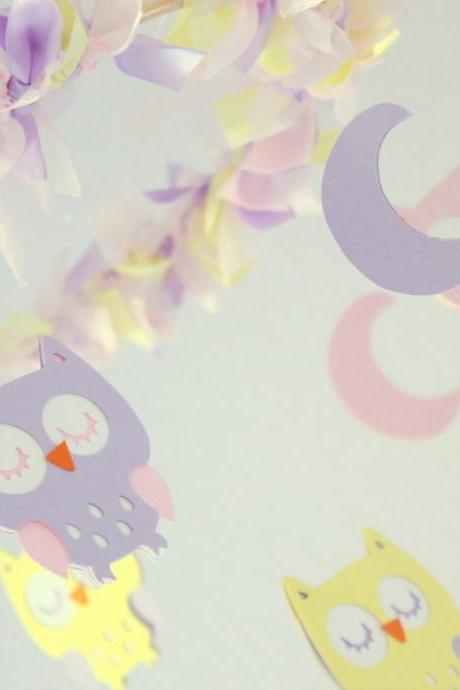 Owl Nursery Mobile in Pink, Lavender & Yellow Pastels