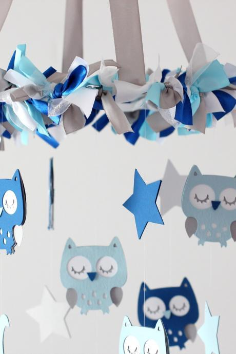 Owl Nursery Mobile in Baby Blue, Cobalt Blue, Gray & White