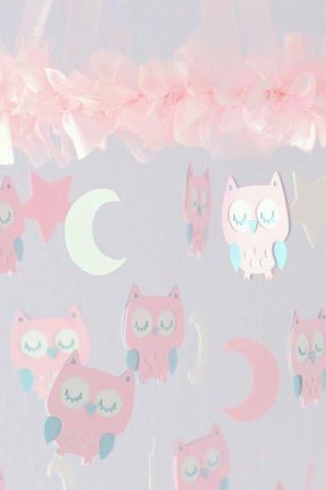 SMALL Owl Nursery Mobile in Pink, Baby Blue & White