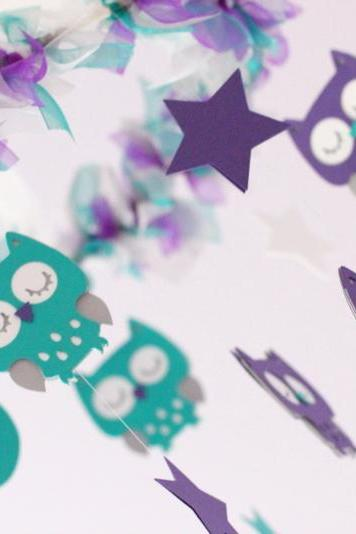 Owl Nursery Mobile in Purple, Teal, Gray & White