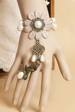 Lace Bracelet even one chain ring female Wristlet